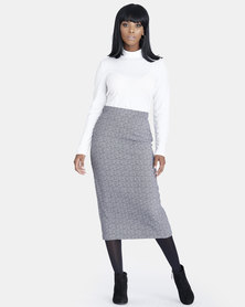 Contempo Printed Skirt Grey