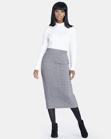 Contempo Printed Skirt Grey