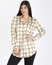 Contempo Printed Longer Length Blouse Ivory