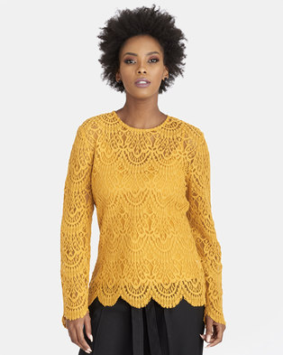 Contempo Scallop Lace Top with Cami Ochre