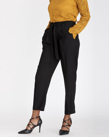Contempo Paperbag Pants with Pockets Black