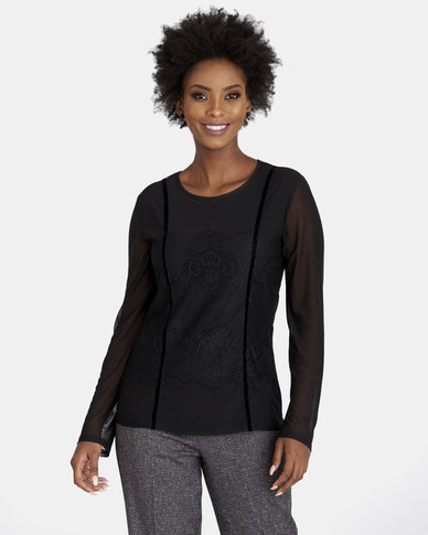 Contempo Long Sleeve Mesh Top with Lace Black