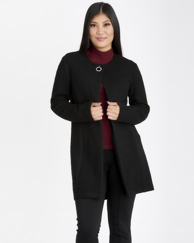 Contempo Coat with Eyelet Detail Black