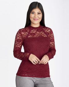 Contempo Lace Top with Lollipop Trim Burgundy