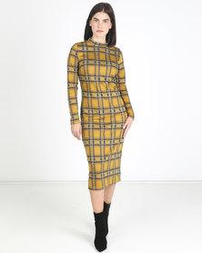 Utopia Check Turtle Neck Midi Dress Mustard