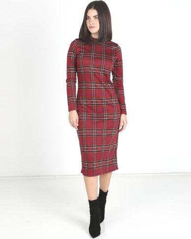 Utopia Check Turtle Neck Midi Dress Ruby