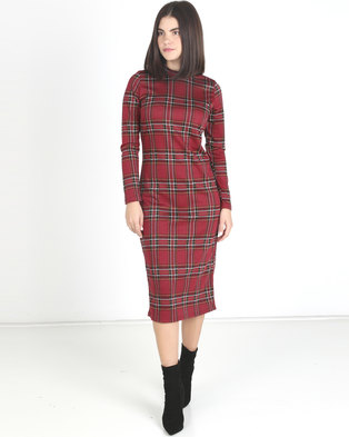 Utopia Check Turtle Neck Midi Dress Ruby