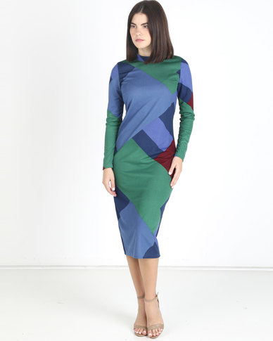 Utopia Geo Print Turtle Neck Midi Dress Emerald