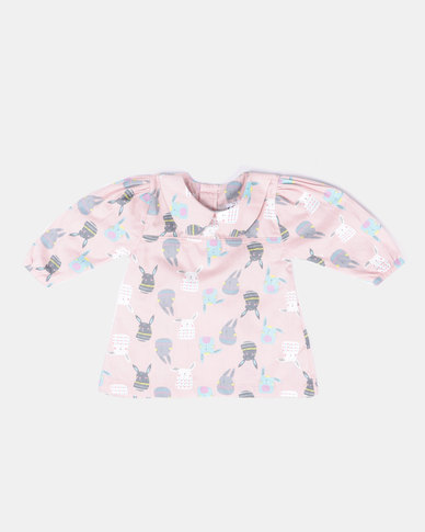 Kapas Baby Doll Dress Bunnies Pink