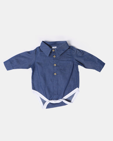 Kapas Collared Babygrow Denim