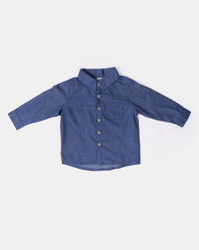 Kapas Collared Shirt Denim