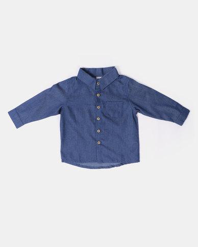 Kapas Collared Shirt Denim