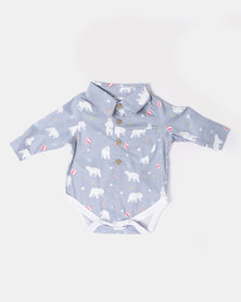 Kapas Collared Babygrow Bears Blue