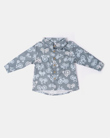 Kapas Collared Shirt Bicyles Grey