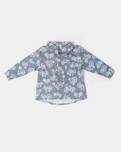 Kapas Collared Shirt Bicyles Grey