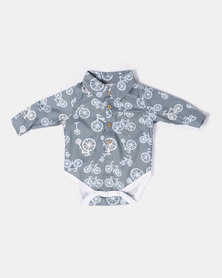 Kapas Collared Babygrow Bicycles Grey