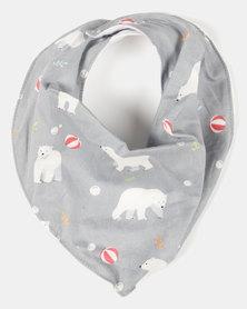 Kapas Dribble Bib Bears Grey