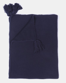 Kapas Chunky Knit Blanket With Tassles Navy