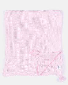 Kapas Chunky Knit Blanket With Pom Pom Pink