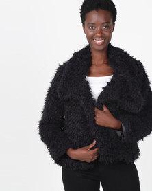 Slick Saskia Crop Faux Fur Jacket Black