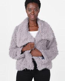 Slick Saskia Crop Faux Fur Jacket Brown