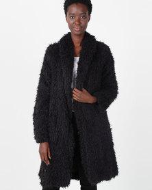 Slick Josette Long Faux Fur Jacket Black