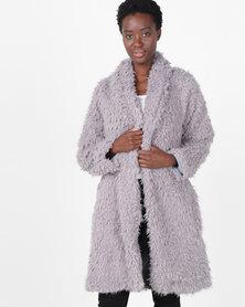 Slick Josette Long Faux Fur Jacket Brown