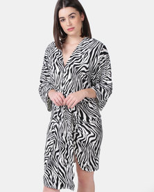 AX Paris Zebra Print Wrap Dress Black/White