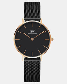 Daniel Wellington Women's Classic Petite Ashfield Black, Rose Gold 32 mm Watch + Classic Petite Bondi Rose Gold Strap 14 mm