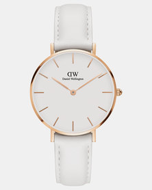 Daniel Wellington Women's Petite Bondi White, Rose Gold 32 mm Watch + Rose Gold Cuff Small