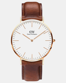Daniel Wellington Men's Classic St Mawes, Rose Gold 40 mm Watch + Classic Glasgow Nato Rose Gold 20 mm Strap