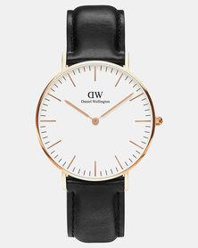 Daniel Wellington Men's Classic Sheffield, Rose Gold 36 mm Watch + St Mawes Leather Strap 18 mm