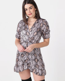 Revenge Snake Print Wrap Dress Grey