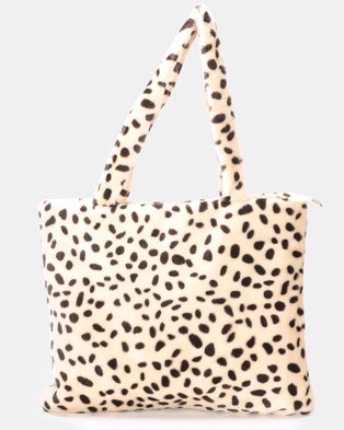 1d75f127999e Blackcherry Bag Leopard Faux Fur Tote Bag Beige