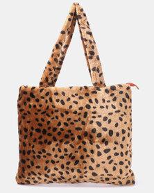 Blackcherry Bag Leopard Faux Fur Tote Bag Tan