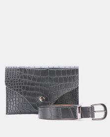 Blackcherry Bag Faux Croc Belt Bag Black
