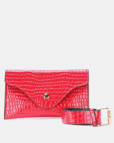 Blackcherry Bag Faux Croc Belt Bag Red