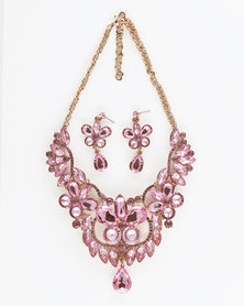 The Jewellery Box Pink Crystal Necklace and Earring - Light Pink