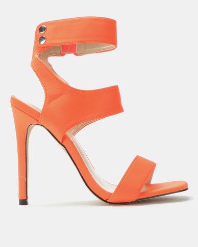 Public Desire Pulse Heels Neon Orange Lycra