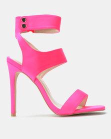 Public Desire Pulse Heels Neon Pink Lycra