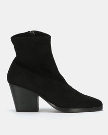Public Desire Charlie Heeled Ankle Boots Black Faux SU