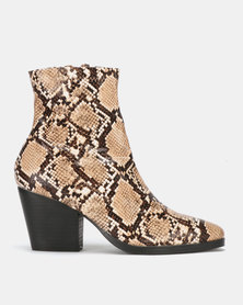 Public Desire Charlie Heeled Ankle Boots Natural Snake PU