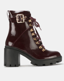 Public Desire Swag Heeled Ankle Boots Burgundy Patent