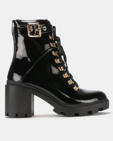 Public Desire Swag Heeled Ankle Boots Black Patent