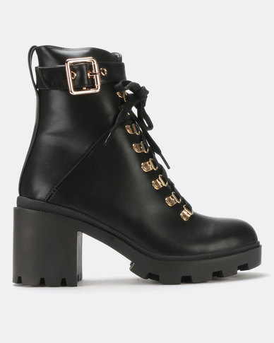 Public Desire Swag Heeled Ankle Boots Black PU