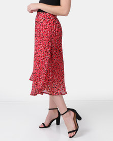 Brave Soul Midi Pleated Printed Skirt Red