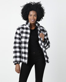 Daisy Street Check Jacket Black/White
