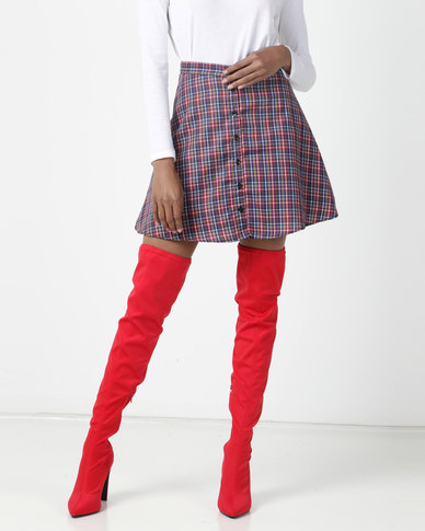 Daisy Street Check Mini Skirt Grey/Pink