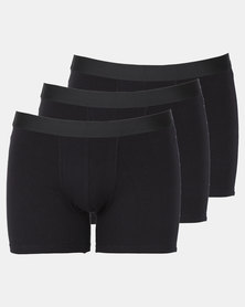 Utopia 3 Pack Mens Trunks Black