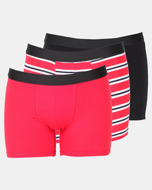 Utopia 3 Pack Stripe Mens Trunks Red